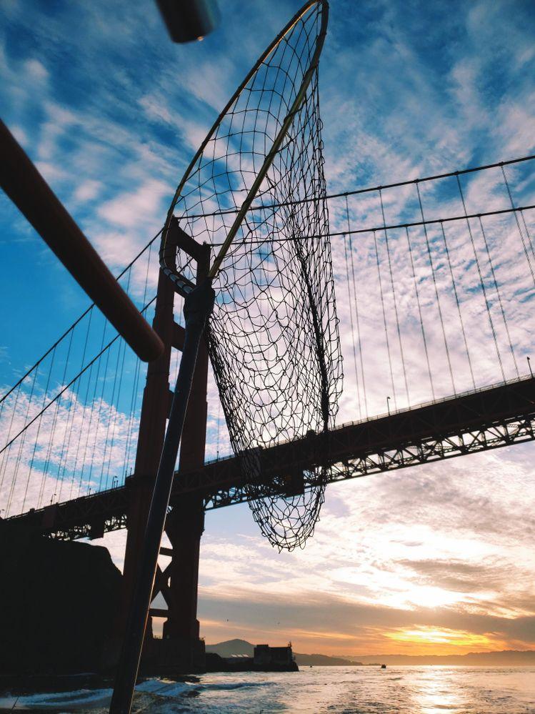 Golden Gate Bridge during salmon fishing trip.
