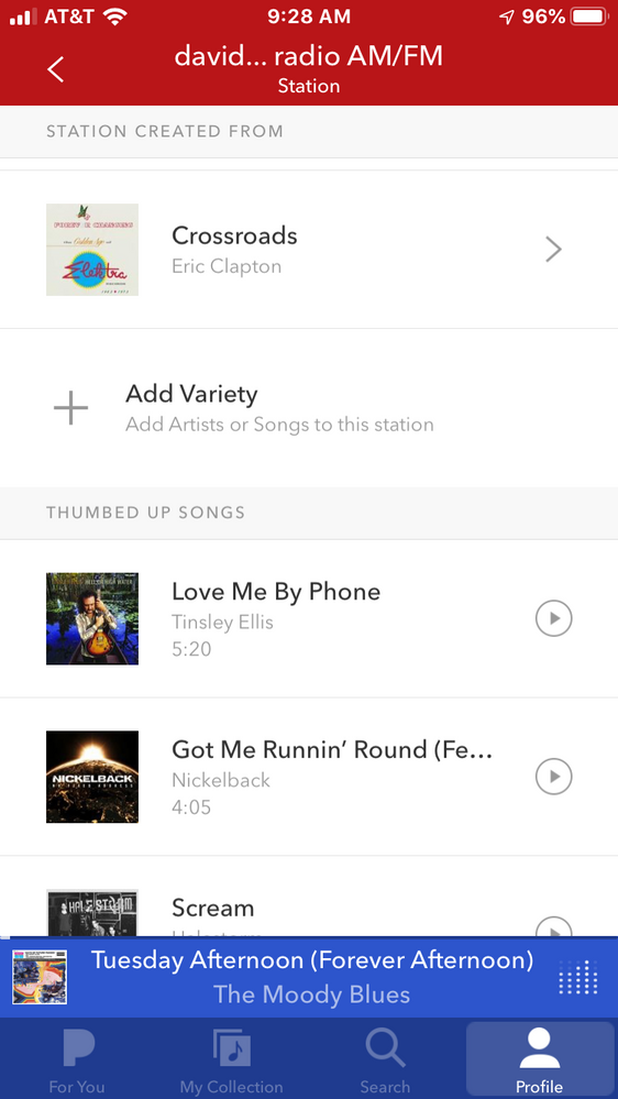 """Add variety in between """"Station Created From"""" and """"Thumbed Up Songs""""."""