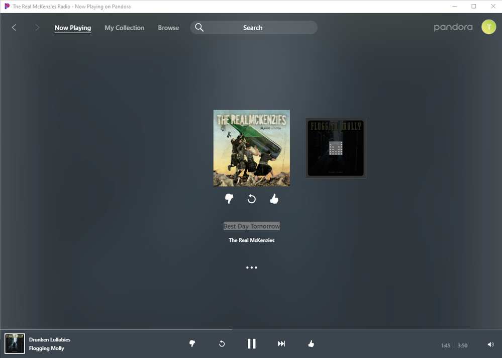 Windows 10 App, tons of space for adding playlist buttons, or other stuff for more functionality.   This is the previous song in a recently selected playlist.