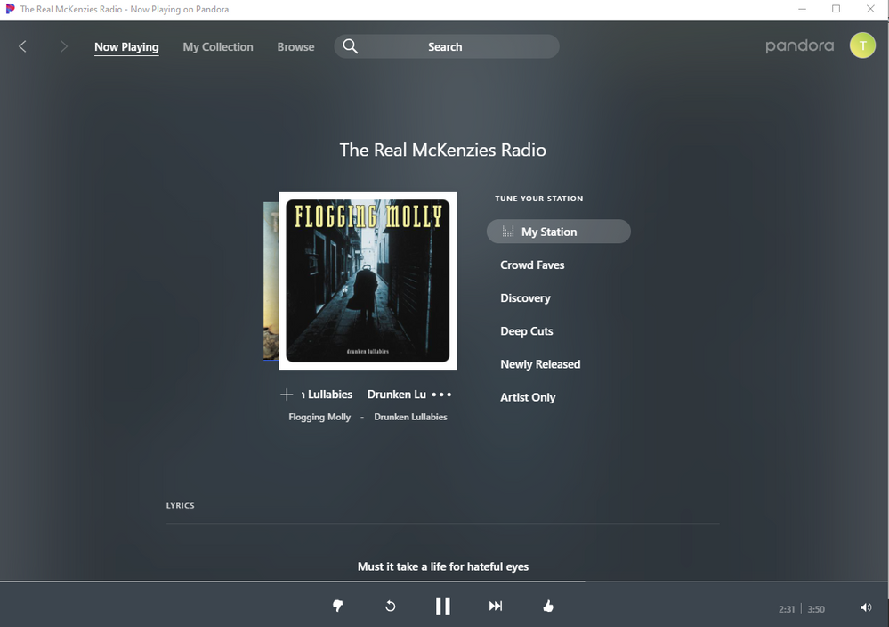 Lots of real estate available on the current song in the Windows 10 app.  Put in a couple extra buttons for playlists.