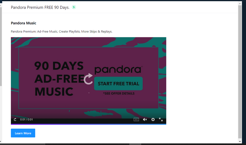 when I click on the banner, this came up. I followed the link to the pandora site, it all was legit. But the promo period was wrong.